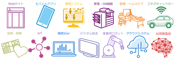 WEBサイト モバイルアプリ 業務システム 家電・AV機器・OA機器 医療・ヘルスケア 開発SIer デジタル放送 金融・保険 IoT